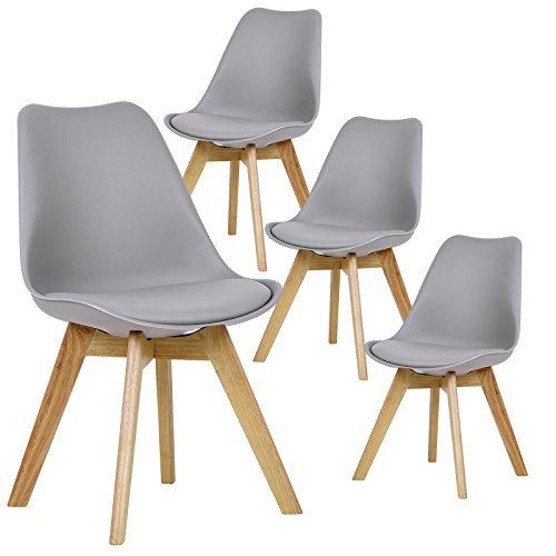 EUGAD 4er Set Esszimmerstühle Esszimmerstuhl Polsterstuhl mit Massivholz Beine, BH29gr-4, Grau