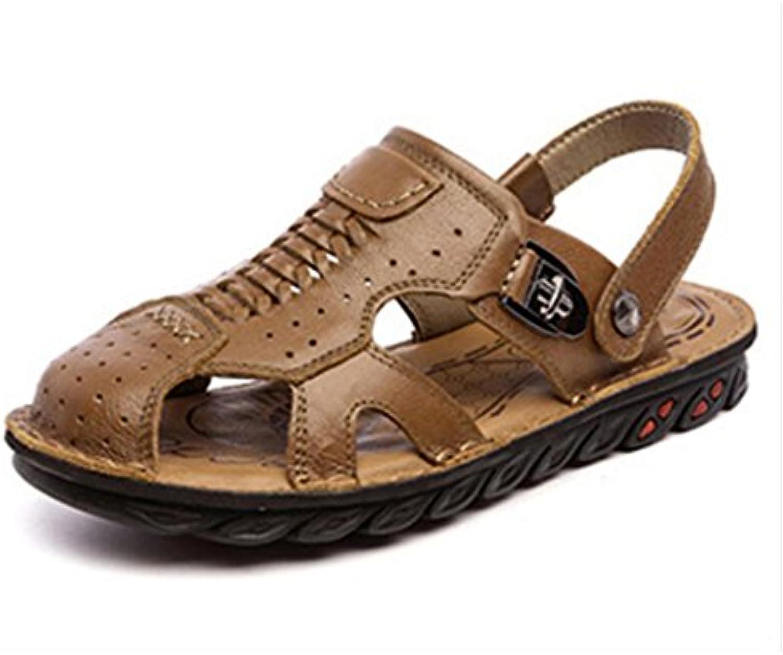 KAI LE Sandalen   Herren Sommer Erste Schicht Leder Strandschuhe Baotou Leder Soft Bottom Schuhe Freizeitschuhe