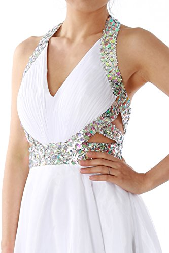 MACloth Elegant Short Prom Homecoming Dress Halter V neck Party Formal Gown clover