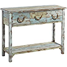 Consola de 3 cajones rústica azul de madera para salón Iris - Lola Derek