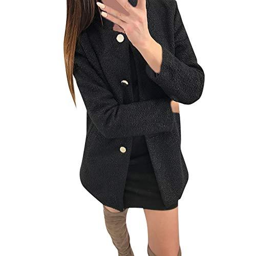 SuperSU Frauen Winter solide einreihige gekerbte Flauschige Taschenjacke Outwear Mantel Damen Wintermantel Wollmantel Winterjacke Mit Kapuze Melierter Woll Parka Jacke Blazer