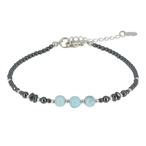Schmuck Les Poulettes - Silber Armband Hämatit Perlen und Larimar