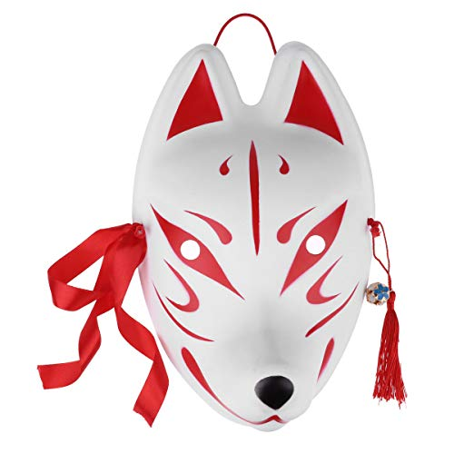 Agoky Unisex Masken Festival Party Cosplay Fuchs Hase weiße Maske Karneval Fasching Karneval Halloween Accessoires Japan Rot C One Size