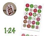 TK Gruppe Timo Klingler Calendario dell'Avvento Adesivi Natalizi Etichette Adesivi Numeri Pulsanti 1-24 Autoadesivo per armeggiare (Edizione 3)