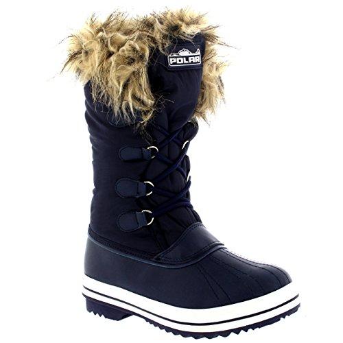 Damen Nylon Warm Pelz Trim Ente Regen Schnee Im Freien Tall Winter Regen Stiefel Marine