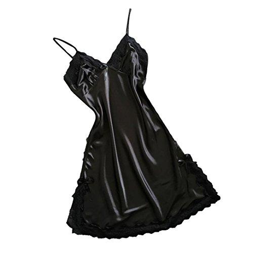 Saingace Nachtkleid Negligee Sleepshirt Dessous Frauen-Wäsche-Silk Spitze-Robe-Kleid-Babydoll-Nachthemd (L, Schwarz) (Robe Schwarz Silk)
