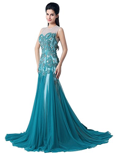 Sarahbridal Damen Kleid blau - peacock blue