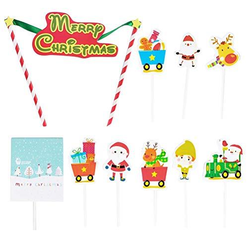 Toyvian 20 stücke Weihnachten Cupcake Topper Frohe Weihnachten Kuchen Topper Muffin Lebensmittel Obst Picks Weihnachten Geburtstag Party Dekoration