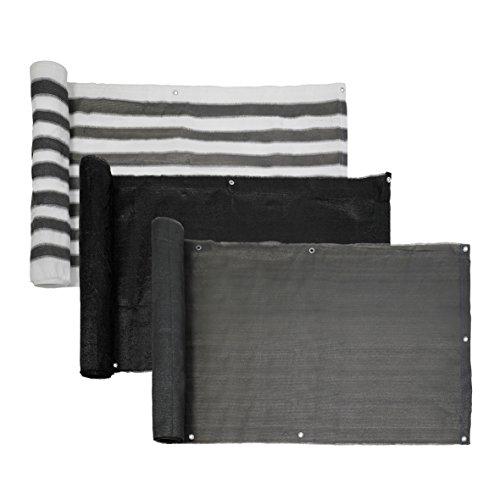 Ribelli® Balkon Sichtschutz Balkonsichtschutz Zaun Windschutz Balkonumspannung Verschiedene Größen und Farben Länge 6m (Farbe/Höhe) (Grau/Weiß, 75)