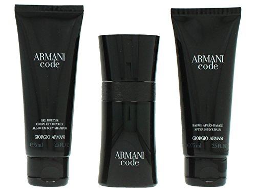 Giorgio Armani Code Pour Homme giftset, Eau de Toilettespray, all over body shampoo, as balm, 1er Pack (1 x 200 ml) (Armani Code Für Männer)