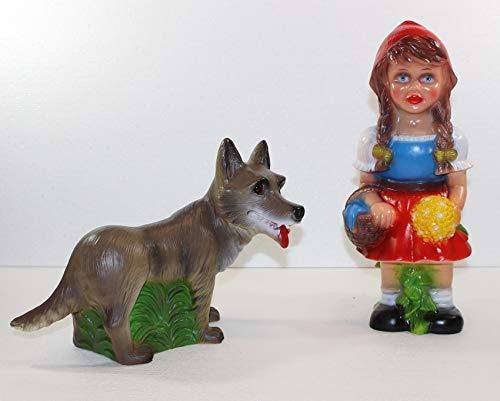 RAKSO Deko Figur Rotkäppchen mit bösem Wolf Gartenfigur Märchenfigur H 31/20,5 cm stehend als Satz