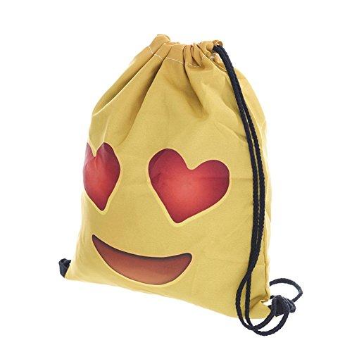 Imagen de emoji bolsa con cordón, searchall equipo de entrenamiento gimnasio sacos drawstring  bolsa para las niñas soft polyester gym sackpack bolsa de cordón bolsa deportiva para adolescentes emoji stuff, admire yellow alternativa