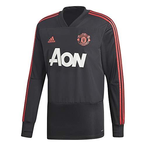Adidas manchester united fc training felpa a maniche lunghe da uomo, uomo, cw7590, black/blaze red/core pink, m