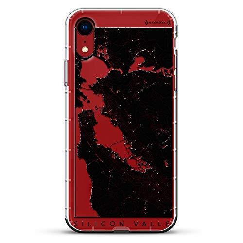 Luxendary Air Series Schutzhülle für iPhone XR, Silikon, 3D-Druck, Luftpolster-Kissen, transparent, Karten, MAPS: Silicon Valley Streets Map (Silicon-valley-karte)