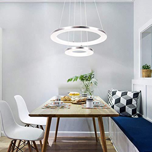 ZMH Moderne LED Pendelleuchte esstisch 30W Led 2-Ring led dimmbar Fernbedienung Hängeleuchte Wohnzimmer Deckenleuchte Schlafzimmer Höhenverstehbar Hängelampe Kronleuchter