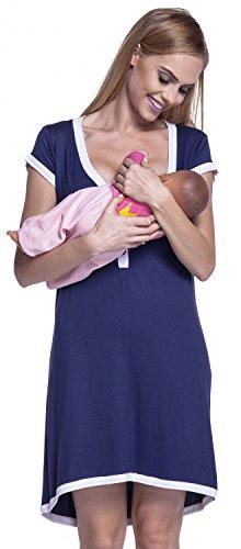 Happy Mama. Damen Umstands-Nachthemd mit Stillfunktion. Stillshirt Kurzarm. 981p (Marine & Weiß, EU 38/40, L) -