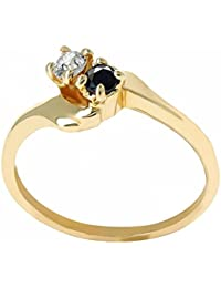 ISADY - Myra Gold Saphir - Women's Ring - 18ct yellow gold plated - Cubic Zirconia Clear and Blue