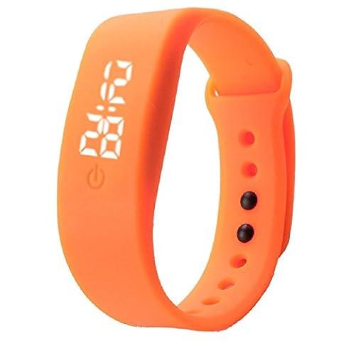 OverDose Damen Herren Gummi LED Uhr Datum Sports Armband Digital Armbanduhr (Orange)