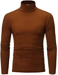 Camiseta Térmica Hombre Manga Larga Cuello Alto Tops Cómodo Invierno Cálido Camiseta de Compresión Ropa Interior