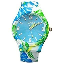 Ladies Floral Pattern Blue and Green Beautiful Round Face Bracelet Bangle Watch With Extra Battery