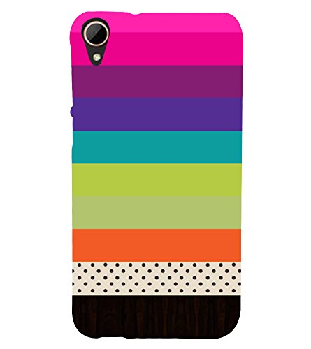 PrintVisa Multicolor Plain Pattern 3D Hard Polycarbonate Designer Back Case Cover for HTC Desire 828 Dual Sim