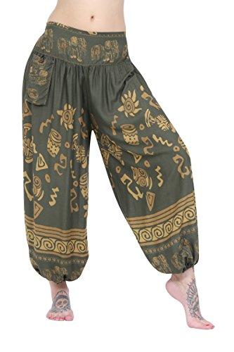 ThaiUK Damen Hose One size Elephant Band Olive