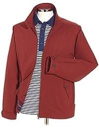 Samuel Windsor Men's 100% Cotton Lightweight Classic Showerproof Harrington Jacket in Navy, Red and Stone