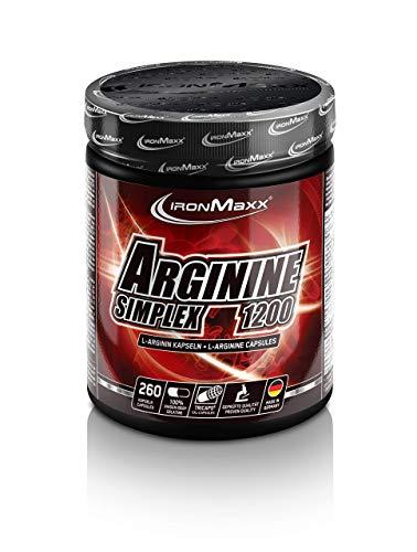 IronMaxx Arginin Simplex 1200 - Sehr hohe Konzentration von L-Arginin Aminosäuren - Ideal für Bodybuilding - Muskelaufbau, Kraftaufbau und Ausdauertraining - Supplement - 260 XXL Kapseln (Tricaps)