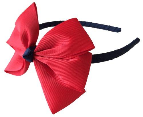 Ribbon and Sparkle Serre-tête fait main Bleu marine et rouge