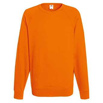 Fruit of the Loom - Felpa Leggera Maniche Raglan 240g/mq - Uomo (S) (Arancio)