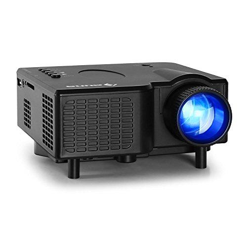 Klarstein YX34B Mini videoproiettore LED (da 17' a 60', 40 ANSI Lumen, risoluzione 320 x 240 Pixel, Altoparlanti integrati 2W RMS, ingressi HDMI, VGA, USB, SD) - Nero