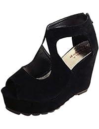 MEIbax-Scarpa Donna Sandali Donna Tacco Zeppa camoscio Pantofole Cusual Estivi  Scarpe Donna Eleganti con cd4b658da5f
