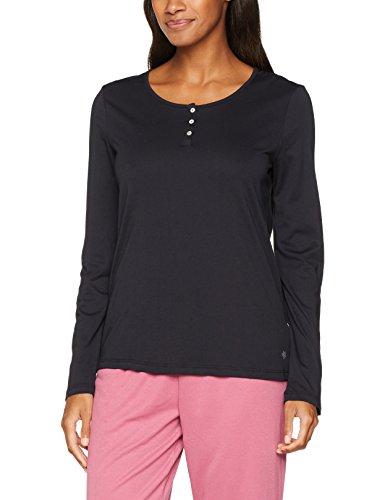 Marc O'Polo Body & Beach Damen Schlafanzugoberteil Mix Shirt LS Henley, Schwarz (Blauschwarz 001), 36 (Herstellergröße: S)