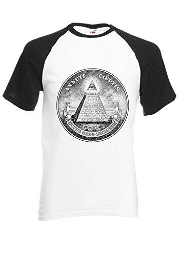 Illuminati Mason Masonic Dollar Pyramid Black/White Men Women Unisex Shirt Sleeve Baseball T Shirt-M par  NisabellaLTD