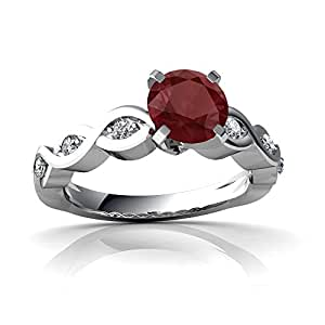 Genuine Ruby 14ct White Gold Engagement Ring - Size R