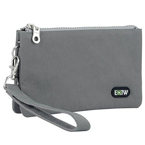 Borsa Organizer Portafoglio Marsupio Nylon Donna Uomo EOTW,Multifunzione Borsetta Portamonete Borsa da Polso con 2 Zipper e 5 Pouch Bag 11,5cm X 18,5cm - Grigio