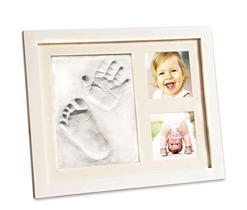 Spatz Baby – Hand und Fuß Gipsabdruck Set | Holz Bilderrahmen + echtes Glas + Geschenkverpackung + Ton + doppelseitiges Klebeband | Personalisiertes Geschenk, süße Erinnerung | Aufhängen oder - Hand-bilderrahmen