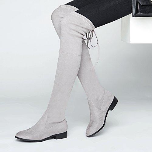 Suede clair Rond Chaud Bout et Plates Lhiver Genoux Lacet pour Femmes Chaussures Scratch avec Fourrure Gris de UH à Bottines Talons 7Yw0qYfR