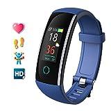 Fitness Armband mit Pulsmesser Wasserdicht Farbbildschirm Fitness Tracker Aktivitätstracker Fitnessarmband Herzfrequenz Armbanduhr Pulsuhren Schrittzähler Uhr Smart Watch Fitness für Damen Herren