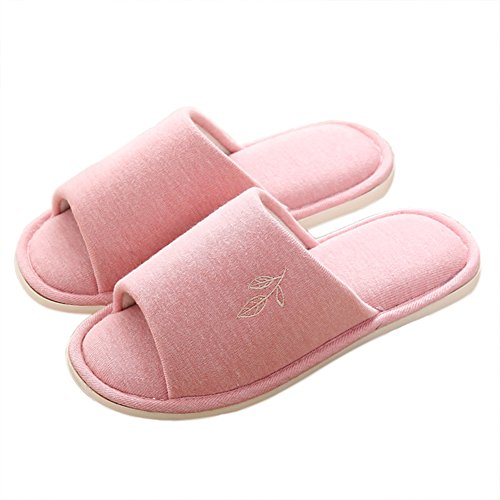 VWU Unisex Damen Herren Frühling Pantoffeln Einfarbig Blatt Baumwolle Weich Hausschuhe Offen Anti Rutsch Innen Indoor Home Zuhause Slippers Rosa