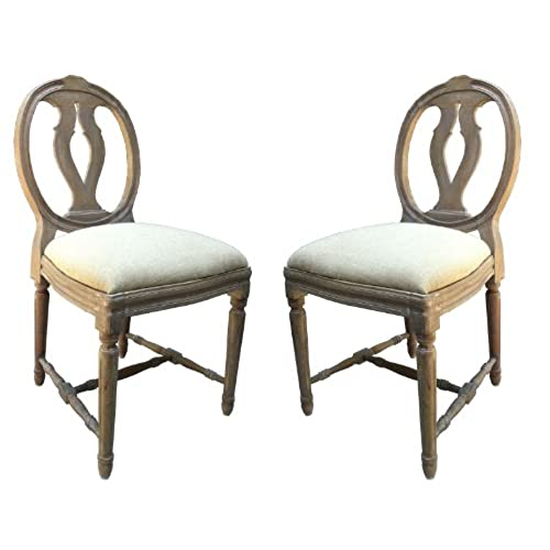 Set Of 4 Shabby Chic French Style Dining Chair In Ash Finish. Upholstery In  Natural Linen Fabric. FULL RANGE OF MATCHING FURNITURE IS AVAILABLE FOR  BEDROOM ...