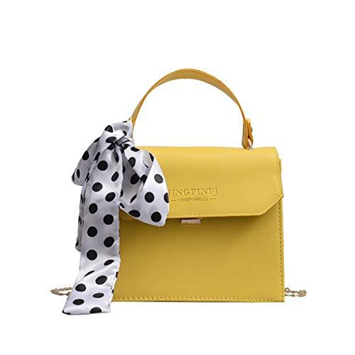 Simanli Designer-Handtaschen für Damen, kleine Handtasche mit Seidenschal, Branded Schultertasche New Look Crossbody Bag Gr. One size, gelb