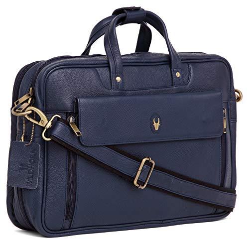 WildHorn 100% Genuine Leather Laptop Messenger Bag Dimension : L-15.5 inch W-4 inch H-11 inch (Blue)