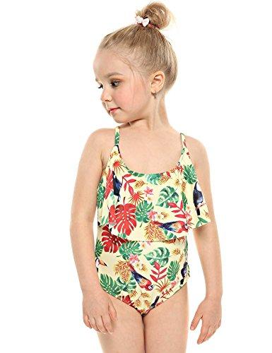 Pagacat Maillot de Bain Bandage Croisé Rayure Floral One Piece Tankini de Plage Enfant Fille Bébé