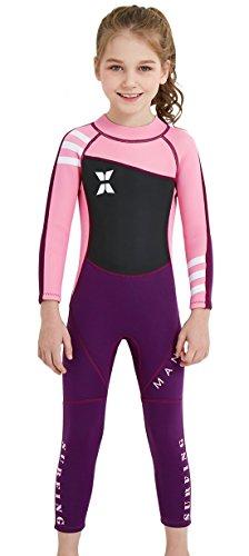 SAIL & DIVE Kinder Neopreneanzug Badeanzug Mädchen Schwimmanzug Einteiler Unisex 2.5MM Tauchanzug UV-Schutz Langarm Wetsuit für Wassersport-Rosa-7-8 Jahre Alt