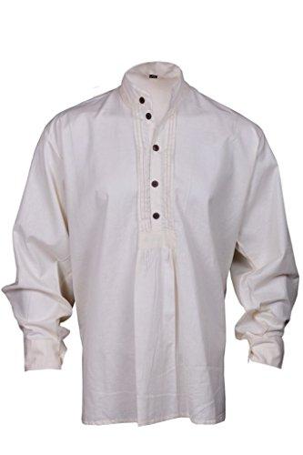 Pirate Renaissance Hemd Weißliche Farbe Medieval Karibik Hippie Männer Kostüm XXL Größe