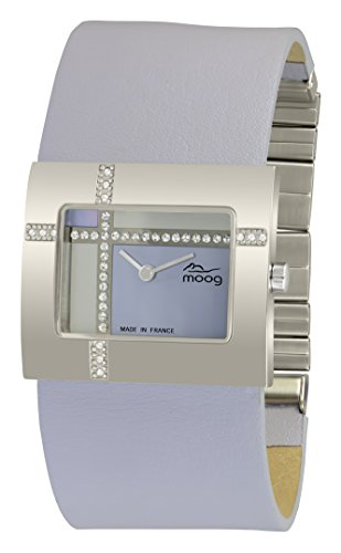Moog Paris Mondrian Montre Femme avec Cadran Nacre Bleu, Eléments Swarovski, Bracelet Bleu en Cuir Véritable - M44372F-003