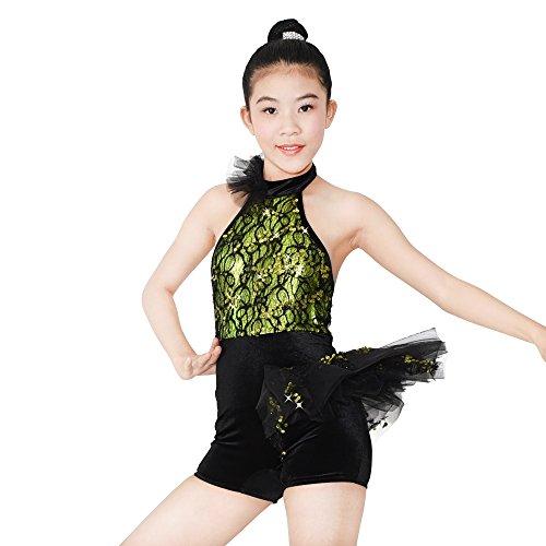 MiDee Halfter Hals Spitze Pailletten Latin Outfits Jazz Biketard Tanz Kostüm Für Mädchen (Grün, LC) (Jazz Tanz Kostüme Für Mädchen)