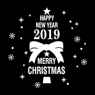 Anglewolf New Year 2019 Merry Christmas Wall Sticker Home Shop Windows Decals Decor Happy Tree Snowflake Reindeer Santa Claus Snowman Bowknot Gift Ball Bell White Scene Printing Removable(White)