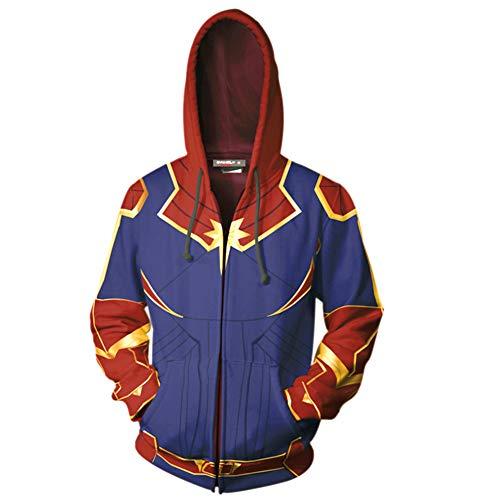 Zipper Hoodie Captain Mvl Jacke 3D Druck Danvers Cosplay Sport Mantel Mit Kapuze Streetwear Sweatshirt Mit Kapuze Pullover Unisex (A, ()